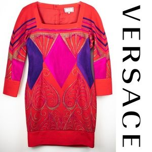 Vintage Gianni Versace Red Long Sleeve Dress 40